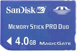 Memory stick pro duo 4 GB Sandisk BLUE