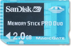 Memory stick pro duo 2 GB Sandisk BLUE