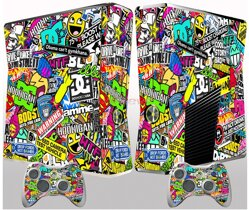 Xbox 360 slim polep Sticker Bomb